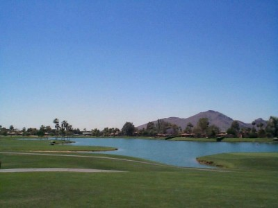 Camelback Mountain behind the McCormick Ranch Golf Course
