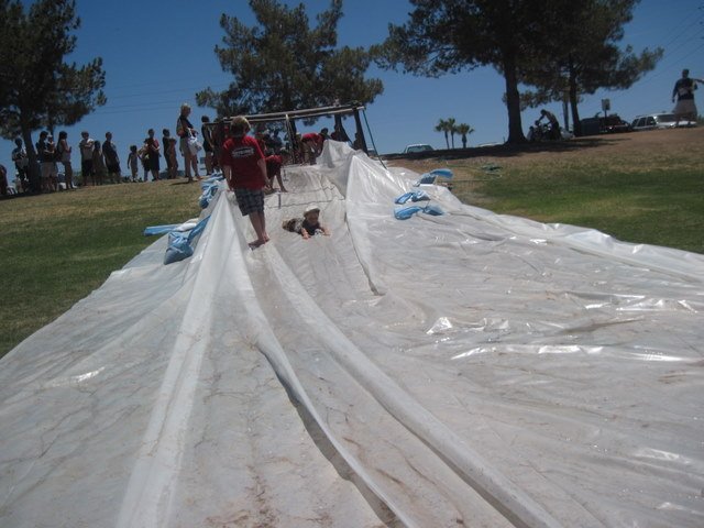 Slip and Slide at Mighty Mud Mania